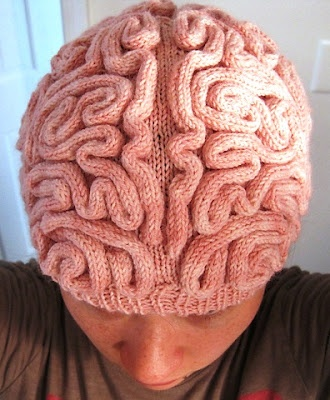 Knitted Brain Hat by Alana Noritake  A little much for me!