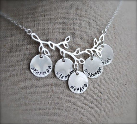 Family Branch Necklace Sterling Silver Hand Stamped Customized Personalized Mommy Grandmother Gift