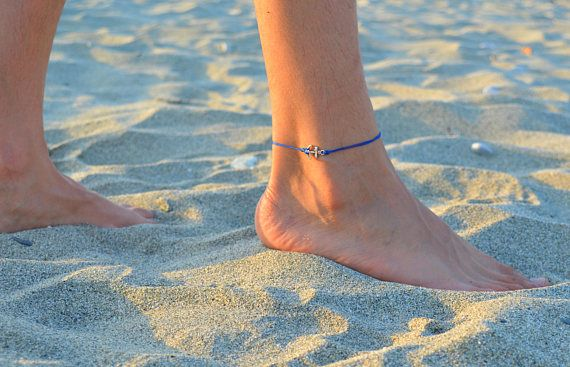 anchor anklet for men, mens anklet, mens ankle bracelet, nautical jewelry, nautical gift for him, anklet for him, blue ankelt, silver anklet