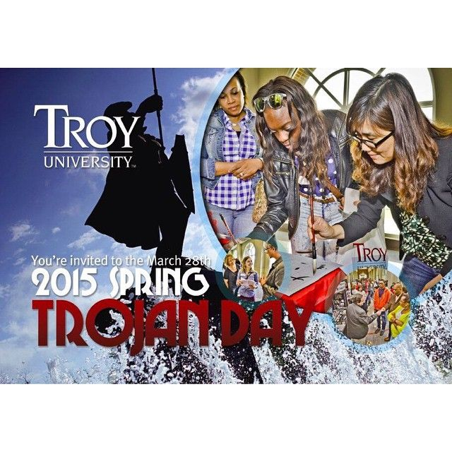 Troy University invites prospective students to the 2015 Spring Trojan Day on March 28. This event will allow prospective students to learn more about TROY's academic programs, financial aid, housing, and participate in a tailgate lunch for TROY baseball games.