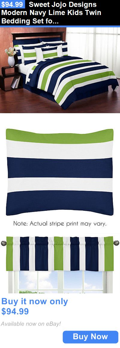 Kids at Home: Sweet Jojo Designs Modern Navy Lime Kids Twin Bedding Set For Teen Boys Bedroom BUY IT NOW ONLY: $94.99