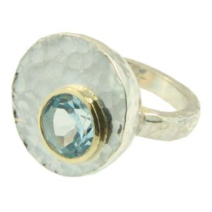 Sterling Silver & 18ct Yellow Gold Blue Topaz ring, handmade at Cameron Jewellery