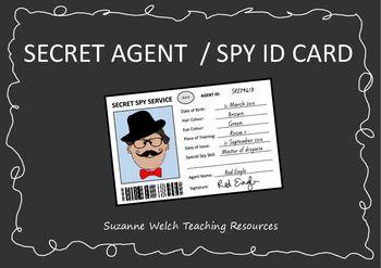 Secret Agent / Secret Spy ID card.  Black and white template.