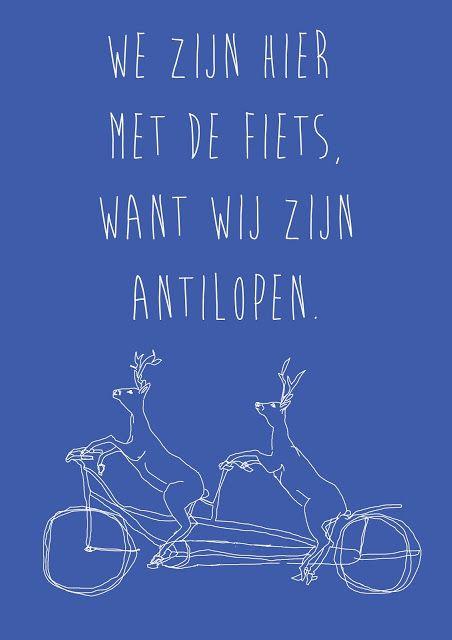 We zijn hier met de fiets, want wij zijn antilopen.