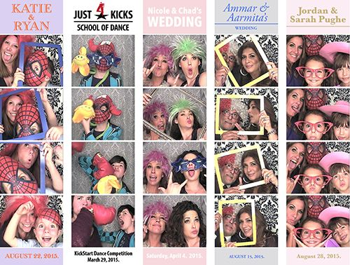 Absolute Photo Booth Strips with customized headers and footers. http://absoluteentertainmentltd.com/photo-booth-rental.html