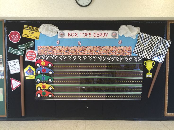 Box tops race track bulletin board