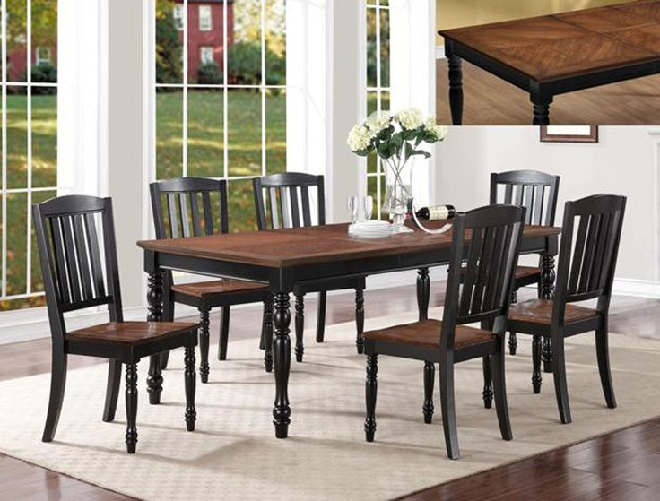 Ramona 5 Piece Dining Set Black Painted Frame Dark Oak Finish Top And Seats Table