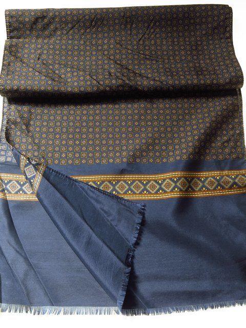 Vintage mens silk scarf blue brown gold - Tweedmans Vintage