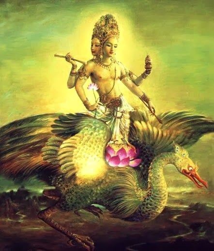 Brahma - The Creator of physical life, the Vedas(wisdom texts) and the human intellect. Oddly, he has only one actual temple in all of the subcontinent.