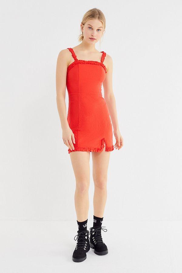 2ea2a5a5514 UO Wren Linen Ruffle Mini Dress | clothes i want | Dresses, Urban ...