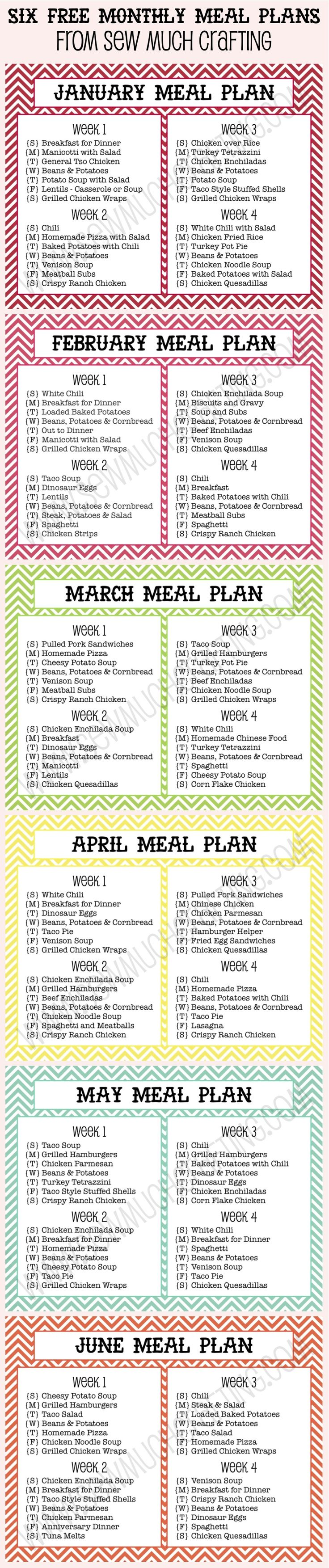 Six FREE Monthly Meal Plan