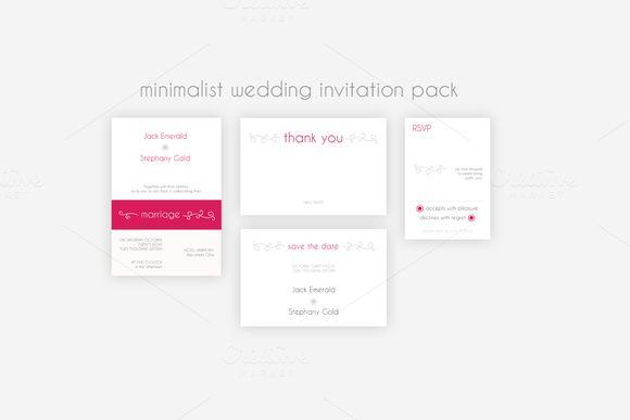Minimalist Wedding Invitation Pack by Knofe on @creativemarket