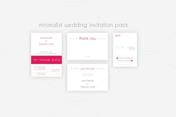Minimalist Wedding Invitation Pack by Knofe on @creativemarket