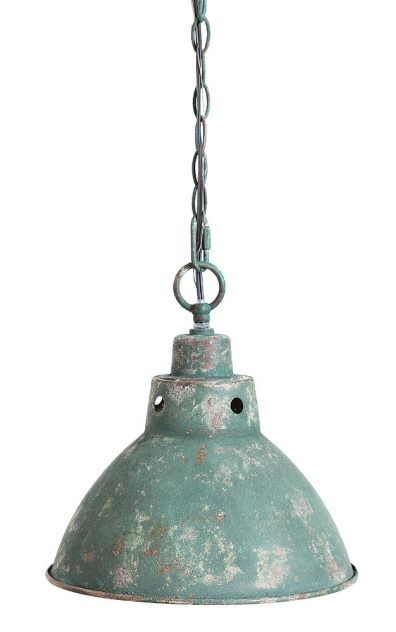 """This Industrial Vintage Pendant Lamp is unique with rustic elegance, which is perfect for farmhouse style kitchens. Made of iron, with a distressed green finish, the pendant lamp comes with a metal ceiling cap and a six foot cord with a plug that can be removed for professional hard wiring. 12"""" Round x 10.5""""H (60 Watt Bulb Maximum)"""