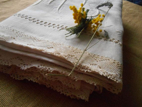 Gorgeous #Victorian  French Linen Sheet with Monogrammed Medallion Hand embroidered and cut ladder work.  White Linen…