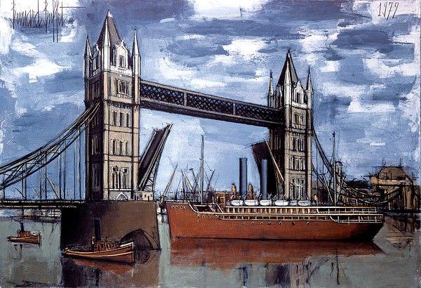 Bernard BUFFET ( 1928 - 1999 ) - Peintre Francais - French Painter Tower bridge, la Tamise Londres