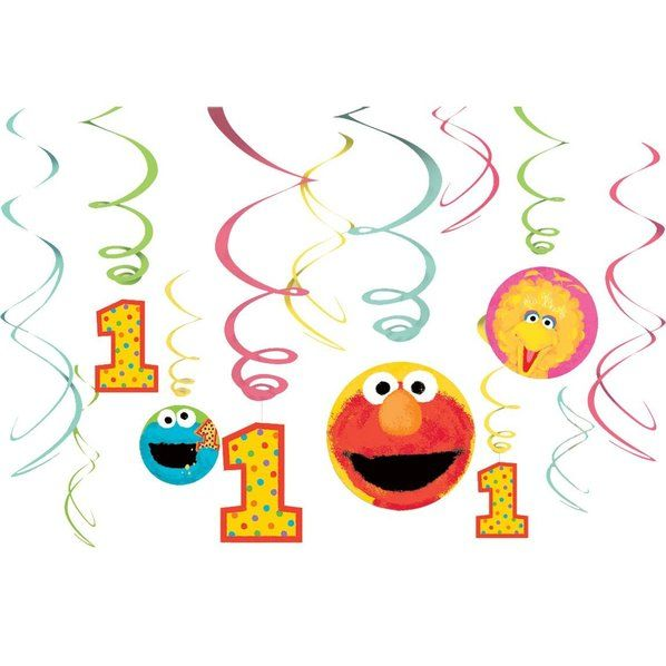 Check out Sesame Street 1st Birthday Hanging Decorations - Low Priced Birthday Party Decorations from Wholesale Party Supplies