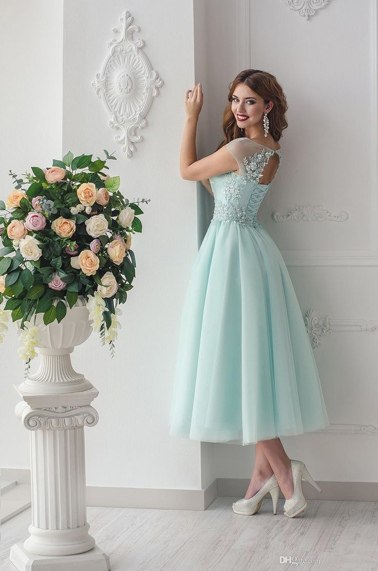 46 best dhgate images on pinterest lace beaded 2016 beach bridesmaid dresses sheer neck a line tea length maid of honor ombrellifo Image collections