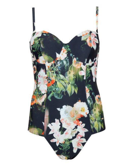 Opulent bloom swimsuit - Black | Swimwear | Ted Baker UK