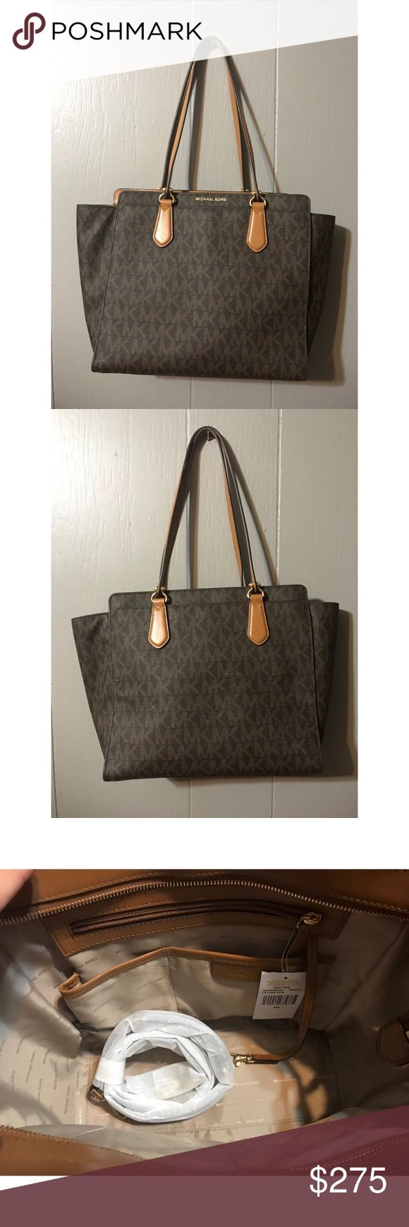 """Michael Kors Large Dee Dee Tote NTW Michael Kors Large Dee Dee Tote, Signature Print,  Large sized bag 16.5""""W x 11.5""""H x 5""""D, 10.5""""L Double Handles; 23.5""""L to 26""""L adjustable strap. Zip Closure. New handbag but there are light scuffs on the back of the bag (barely noticeable) as shown in photo. Will be shipped with MK Dust bag. Michael Kors Bags Totes"""