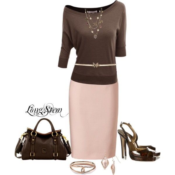 """Pink & Brown"" by longstem on Polyvore"