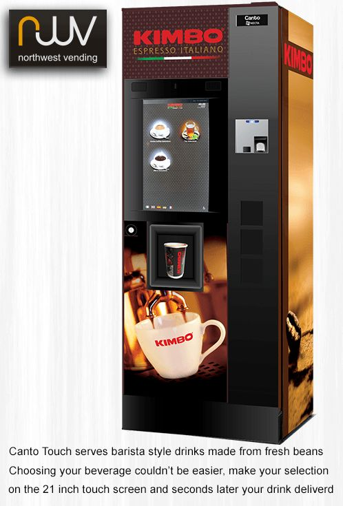 N&W Canto Touch, the stunning 21.5 inch HD touch-screen has large easy to use menu icons, once you make your selection you can personalize your fresh bean cappuccino, latte, mocha or fresh leaf tea, to just the way you like it. #vending, #N&W, #cantotouch, #beantocup, #Espresso, #Kimbo, #welovekimbo