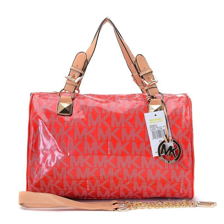 Michael Kors Patent Leather Logo Large Red Satchels Outlet