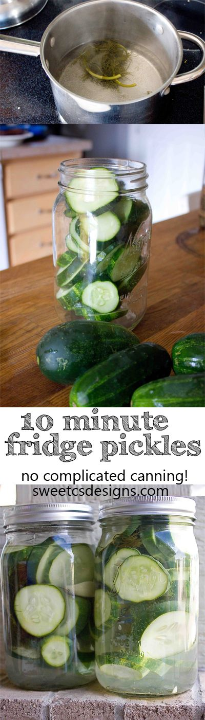 10 minute fridge pickles- these are SO easy to make and require no complicated canning! Get delicious pickles in a few easy steps!