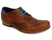Blue shoelace in brown