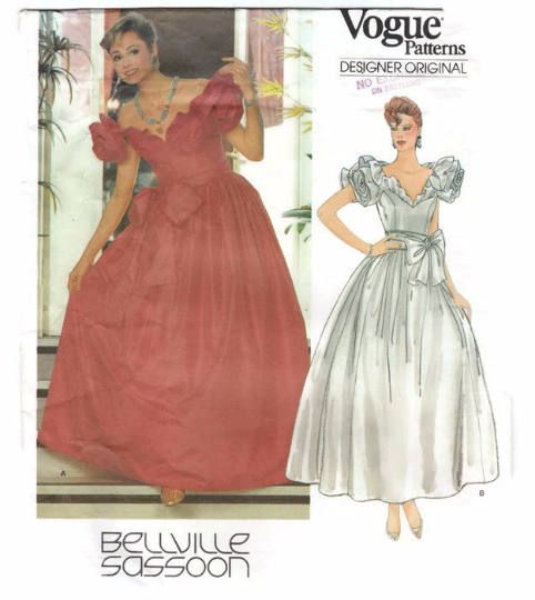 Evening Dress Sewing Pattern Vogue 1152 Bellville Sassoon Long Dress Full Skirt Evening Gown Bridal Pattern 1980s Wedding Dress Pattern by PatternsFromOz on Etsy
