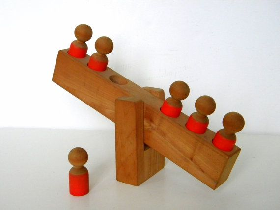 1970's Hand Crafted Wood See-Saw Toy w 6 Wood People