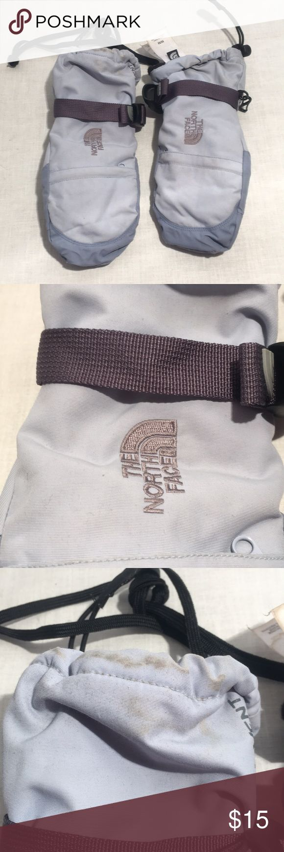 """Kids The North Face Mittens Sz M Preowned no rips and no holes. The North Face light blue mittens. View all pictures carefully stains at the cuffs. Each mitten has a zipper pouch. 6"""" from fingers tip of mitt to gathered elastic area. Please do not leave offer with comments. Thanks The North Face Accessories Mittens"""