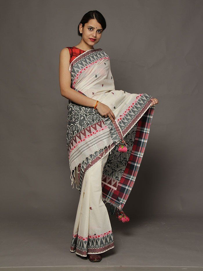 Aaranyak Ivory Assam Cotton Saree from TheLoom.in