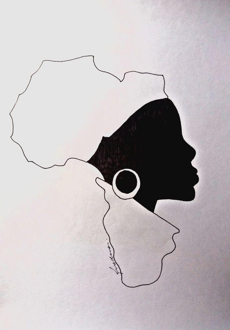 Dibujo en lámina de 20x30 cm Idea original encontrada en Google images como resultado de búsqueda sobre representaciones de mujeres en la cultura africana. Figuras simples y diseño minimalista representado con lapicera negra de un mismo grosor.