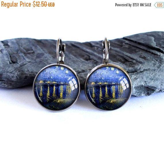 ON SALE Starry Night earrings, navy blue dangle earrings, Vincent van Gogh drop earrings, night sky painting earrings, glass cabochon pictur