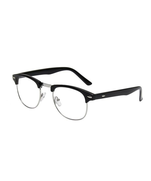6cd895718923e New Vintage Classic Half Frame Semi-Rimless Wayfarer Clear Lens Glasses -  Black - C012CXLSP9X