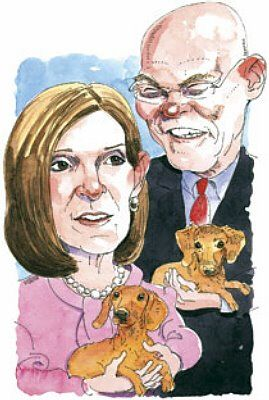 Dachshunds in Politics: Mary Matalin and James Carville  -  such a cute illustration!