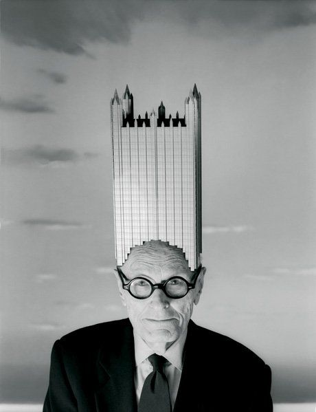 Architect Philip JOHNSON wearing his hat model of PPG building / Pittsburg