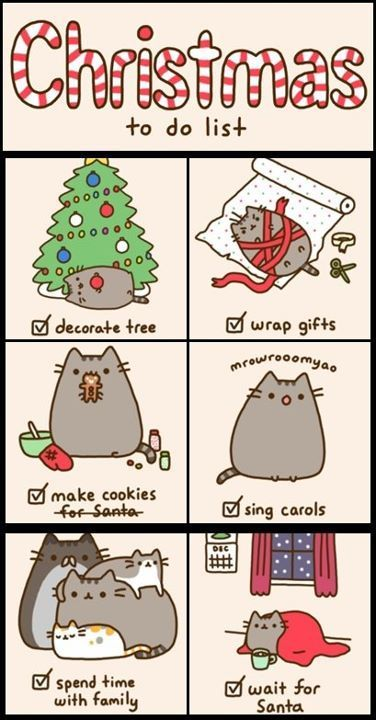 Christmas to-do list. This cat cartoon cracks me up! It so reminds me of my fat cat pregos!