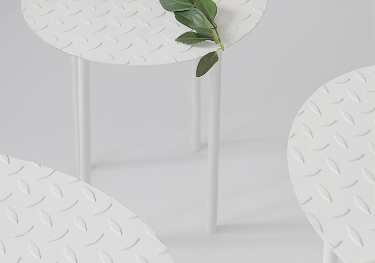 Egadi | Product | Works | studio zero | an archipelago of stools, tables and étagère designed for the outdoor, floating like islands on thin structures | #productdesign #product #industrial #white #photoset #outodoor #interiordesign #wood #geometry #pattern #design #minimal #dream #poetic #photography #dreamlike