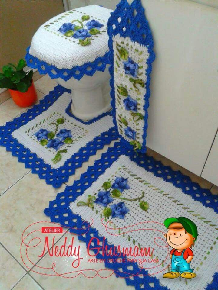 Set de ba o tejido manualidades pinterest tejido for Set de bano tejidos