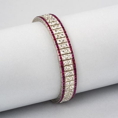 Art Deco Platinum, Diamond and Ruby Bracelet by Mauboussin  1920's