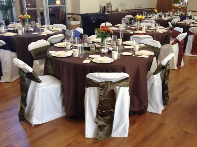 Fall Themed Wedding With Chocolate Brown Floor Length Table Covers