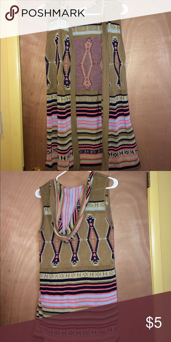 Hooded Cardigan Vest Aztec Print, very cute! Say What? Sweaters Cardigans