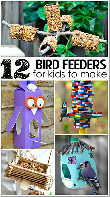 12 Really Cool Homemade Bird Feeders! These are not only fun bird feeder crafts, but make really fun to watch bird feeders for kids to watch. Love, love, love the Lego bird feeder!