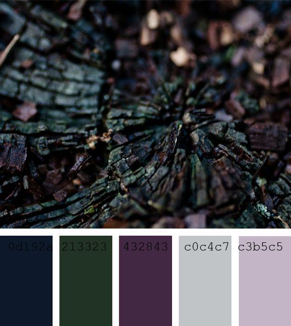 #Paleta #colores fríos.  Cold color #palette #blue #dark violet dark blue, dark #green, soft #violet, winter palette.                                                                                                                                                                                 Más
