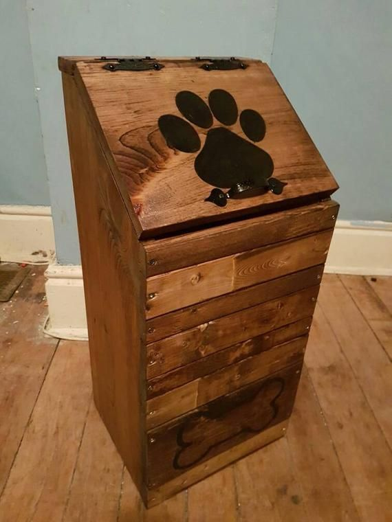 Wooden Dog Food Storage Container Dog Food Bin Pet Food Etsy In 2020 Dog Food Storage Containers Dog Food Storage Dog Food Bin
