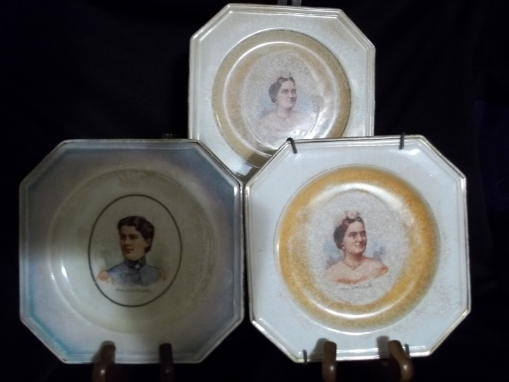 These plates were a great find! This is Imperial China fine porcelain that is EXTREMELY rare. The same pattern was shown on Antiques Roadshow in 2006. The plates depict early Presidential First Ladies. The picture shown is of Mrs. Cleveland and two plates of Mrs Lincoln. i have 9 additional plates.