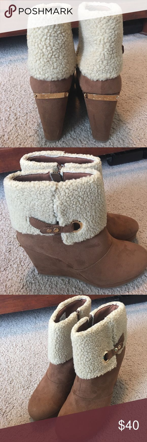 Juicy Couture fur ankle wedge boots Size 10 Brand new without box ankle boots. Brown suede and tan fur. Juicy Couture Shoes Ankle Boots & Booties