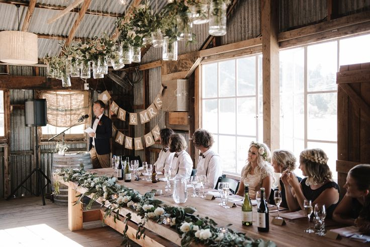Nadia + Pete's lovely head table. More of their wedding story from micimage at http://www.micimageweddings.co.nz/wedding-photographer/wanaka-weddings/nadia-pete/